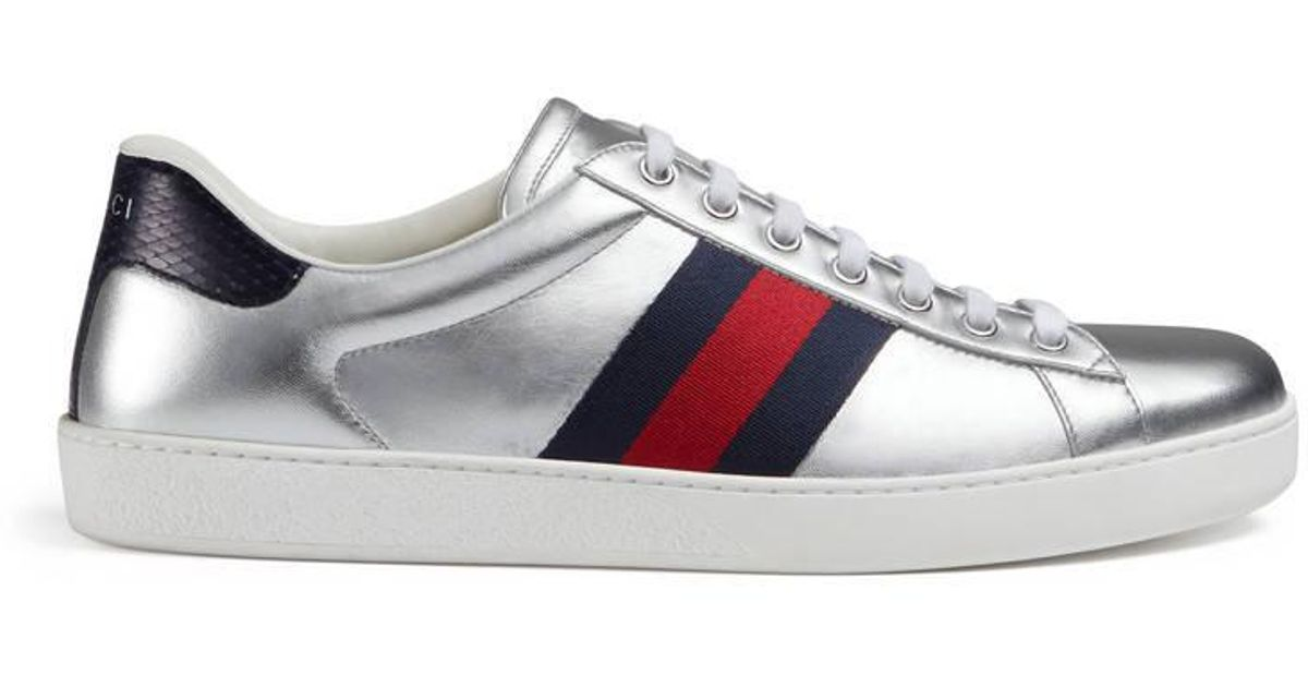 33fc6a1b417 Lyst - Gucci Ace Metallic Leather Low-top Sneaker in Metallic for Men