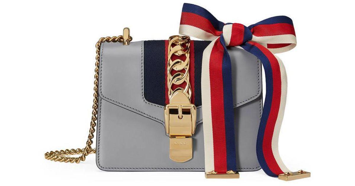 432b9fd1a191 Gucci Sylvie Leather Mini Chain Bag in Gray - Lyst