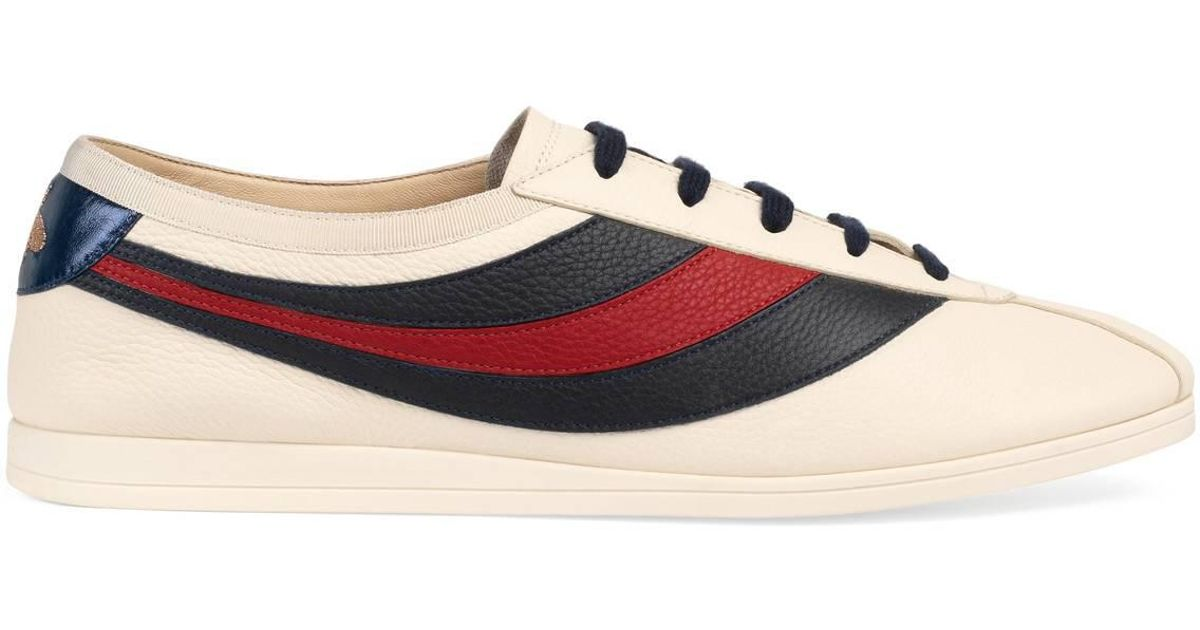 Gucci Leather Falacer Sneaker With Web