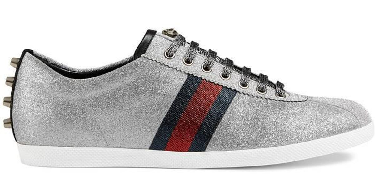 e079491f5 Gucci Men's Bambi Web Low-top Sneakers With Stud Detail in Metallic for Men  - Lyst