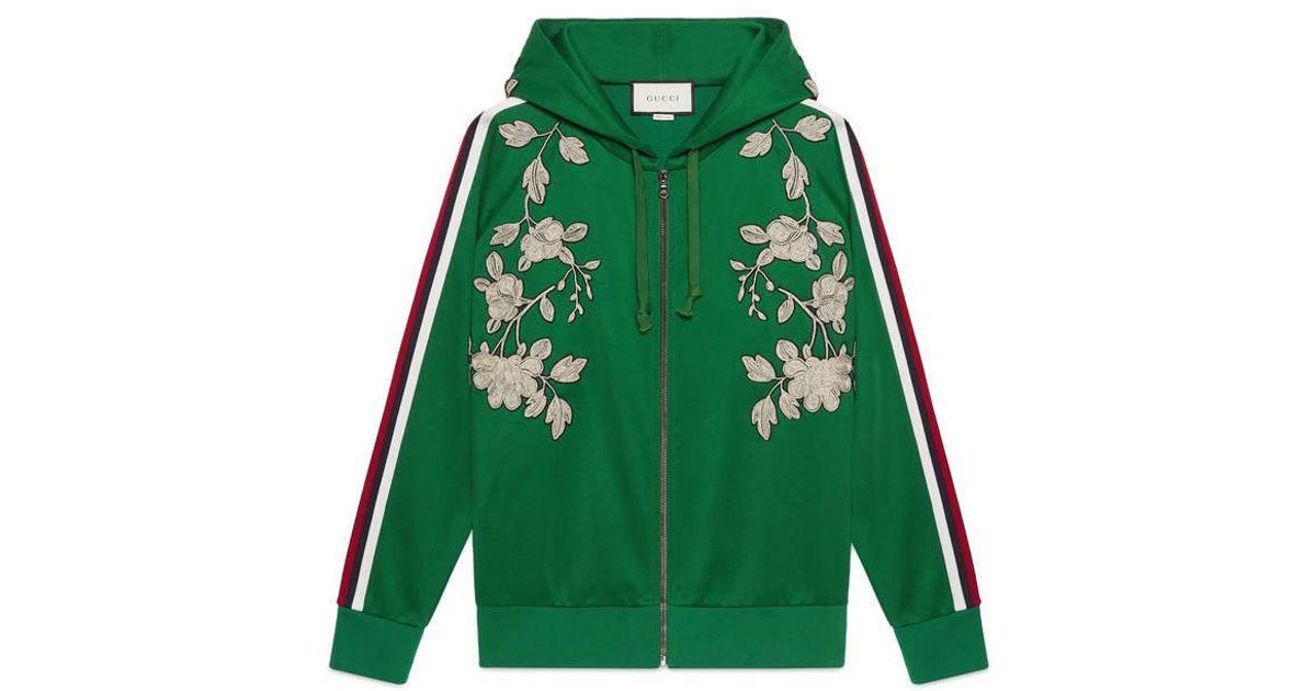 75b6d7f3f1d Gucci Embroidered Jersey Sweatshirt in Green - Lyst