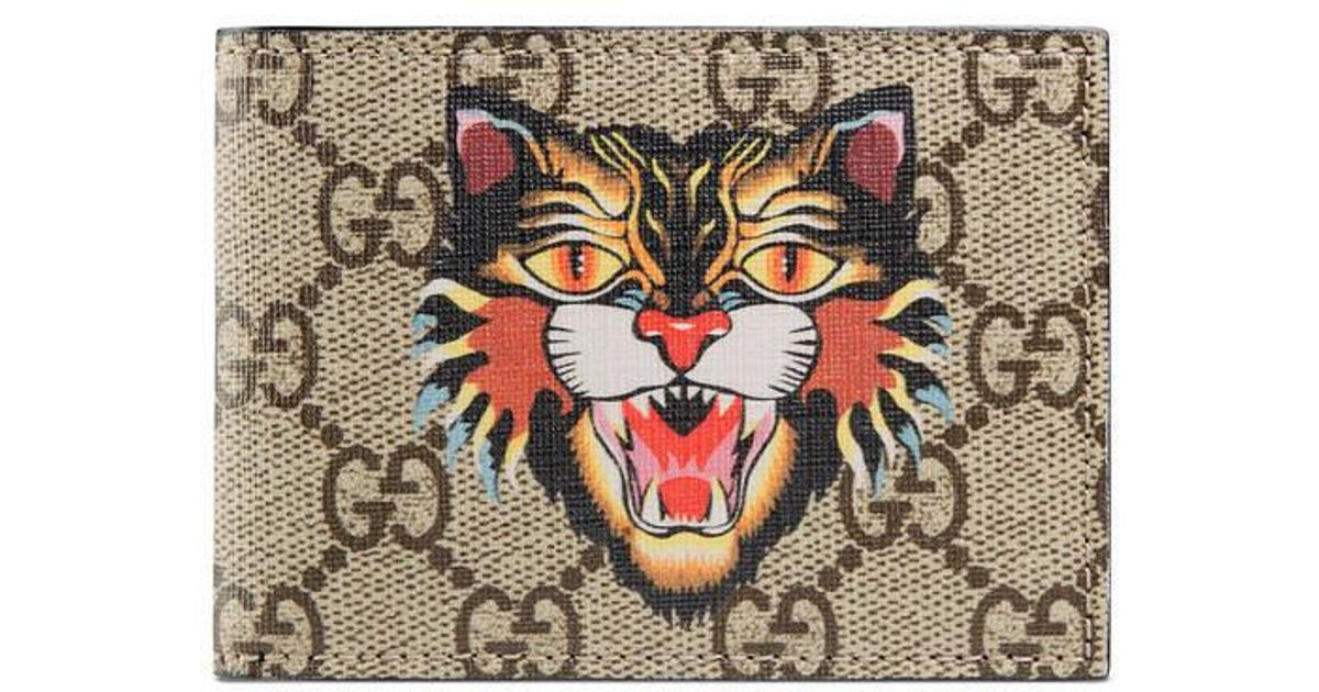 9f81213d8ea2 Gucci Angry Cat Print Gg Supreme Wallet in Natural for Men - Lyst