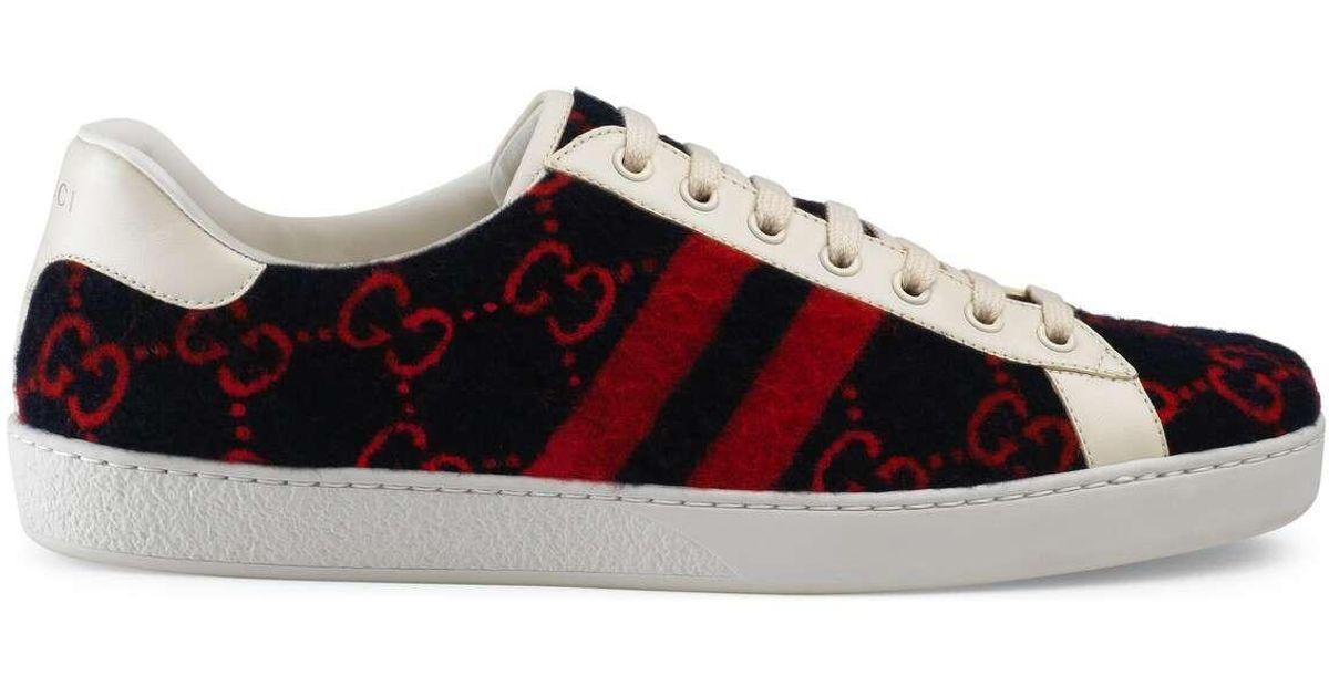 b573ce97d0 Gucci Blue Ace GG Wool Sneaker for men