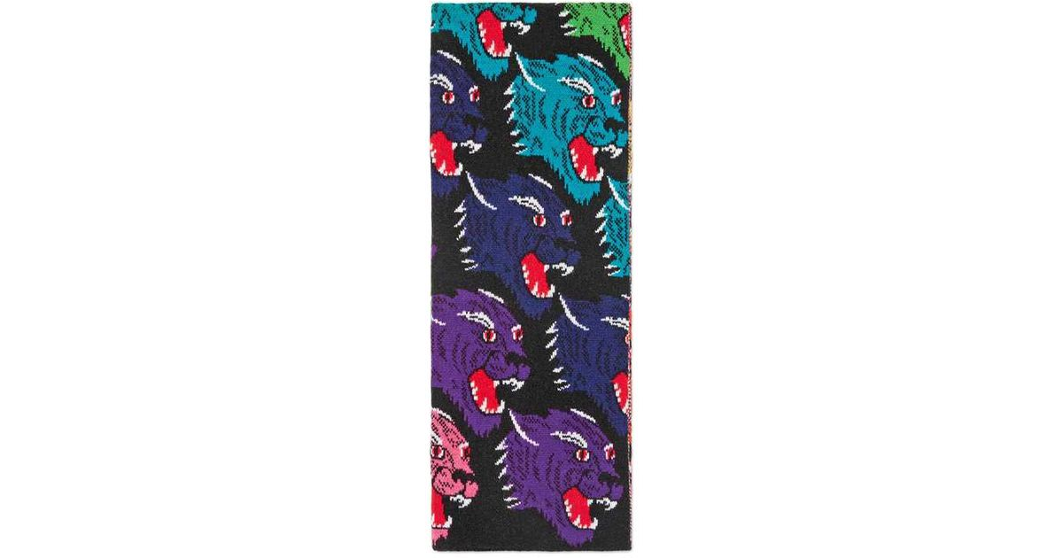 rainbow panther face jaquard scarf - Black Gucci DpUZp