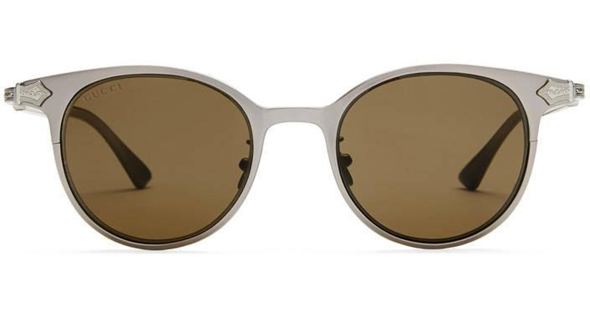 fe266a66afc Lyst - Gucci Round-frame Titanium Sunglasses in Brown for Men