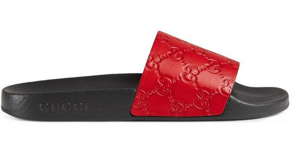 e4708f6692d3 Lyst - Gucci Pursuit Signature Slide Sandal in Red - Save 16%