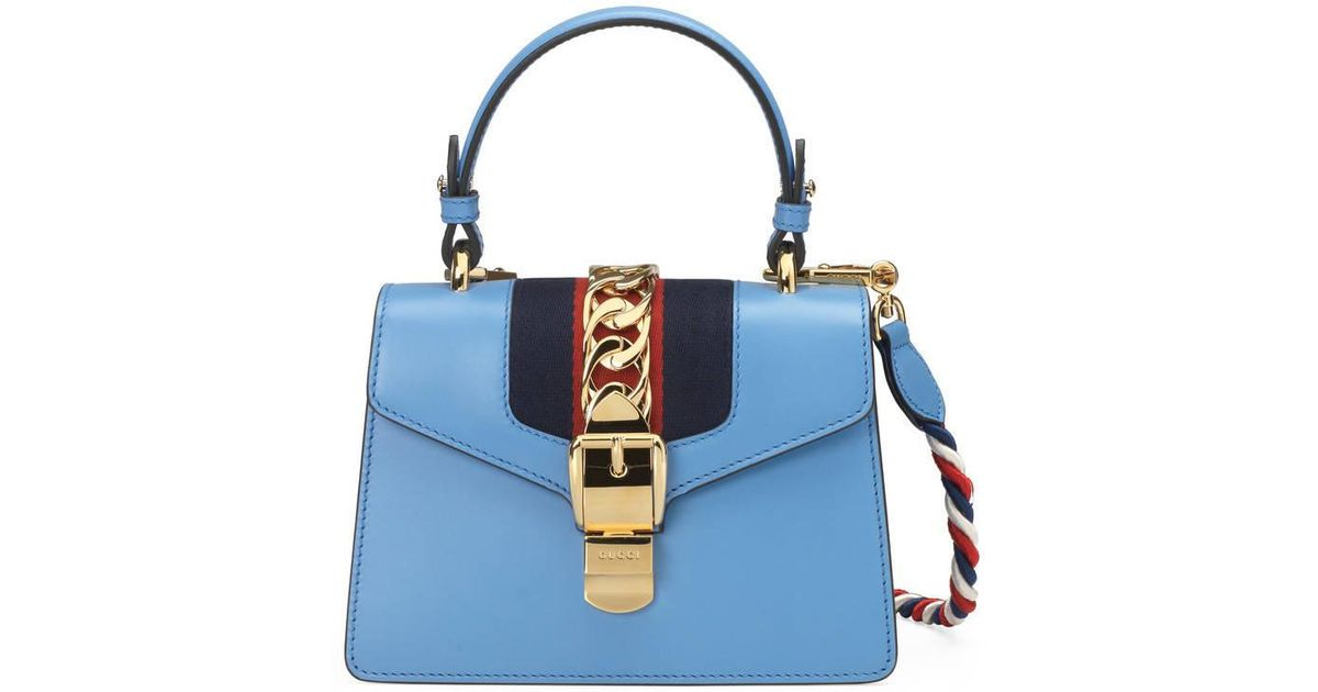 b27ac298627 Lyst - Gucci Sylvie Leather Mini Bag in Blue
