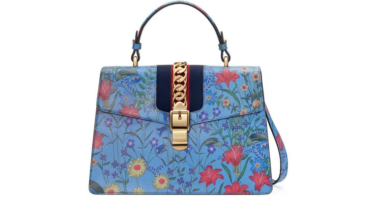 ac07f9a2fd94 Gucci Sylvie New Flora Leather Top Handle Bag in Blue - Lyst