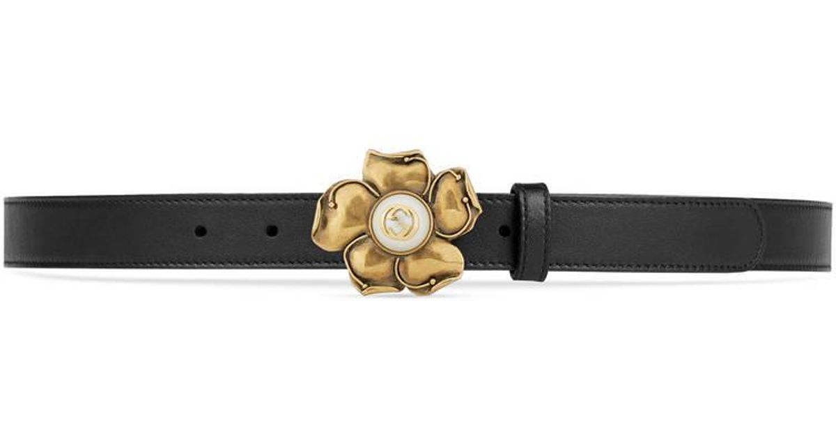 df5409dfc5b Lyst - Gucci Leather Belt With Metal Flower