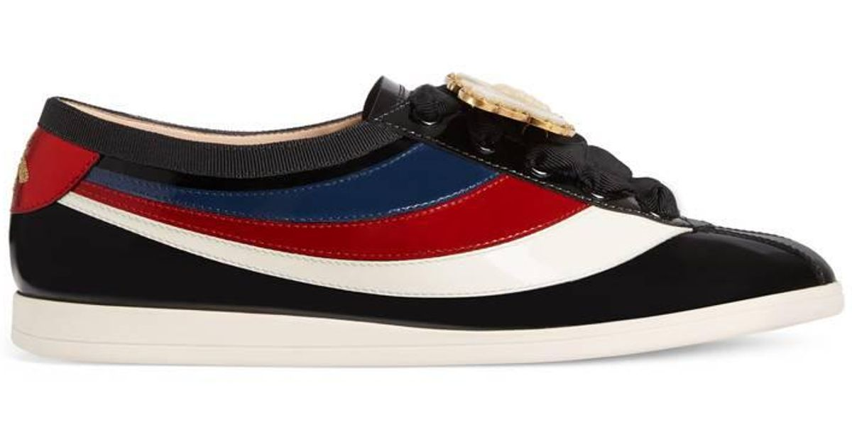 962a99ca501 Lyst - Gucci Falacer Patent Leather Sneaker With Web in Black