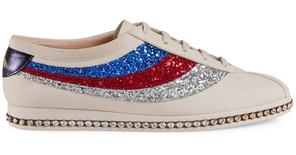 698ffe2ac7a Lyst - Gucci Falacer Sneaker With Glitter Sylvie Web in White