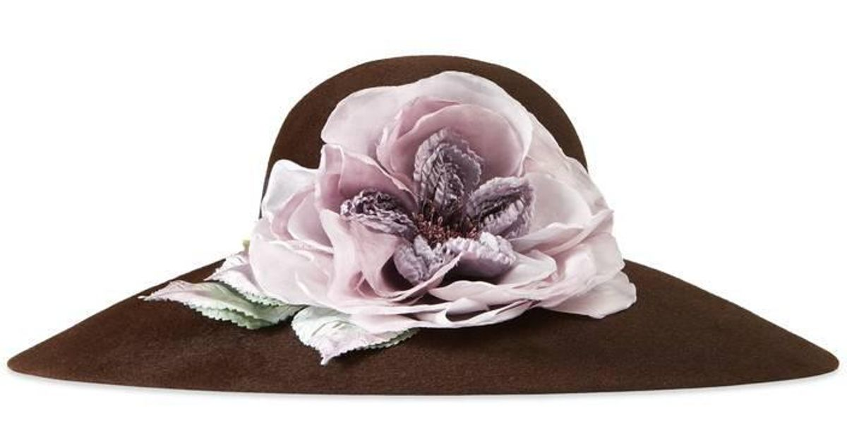 bcdd217c8cb98 Lyst - Gucci Felt Hat With Oversize Flower in Brown