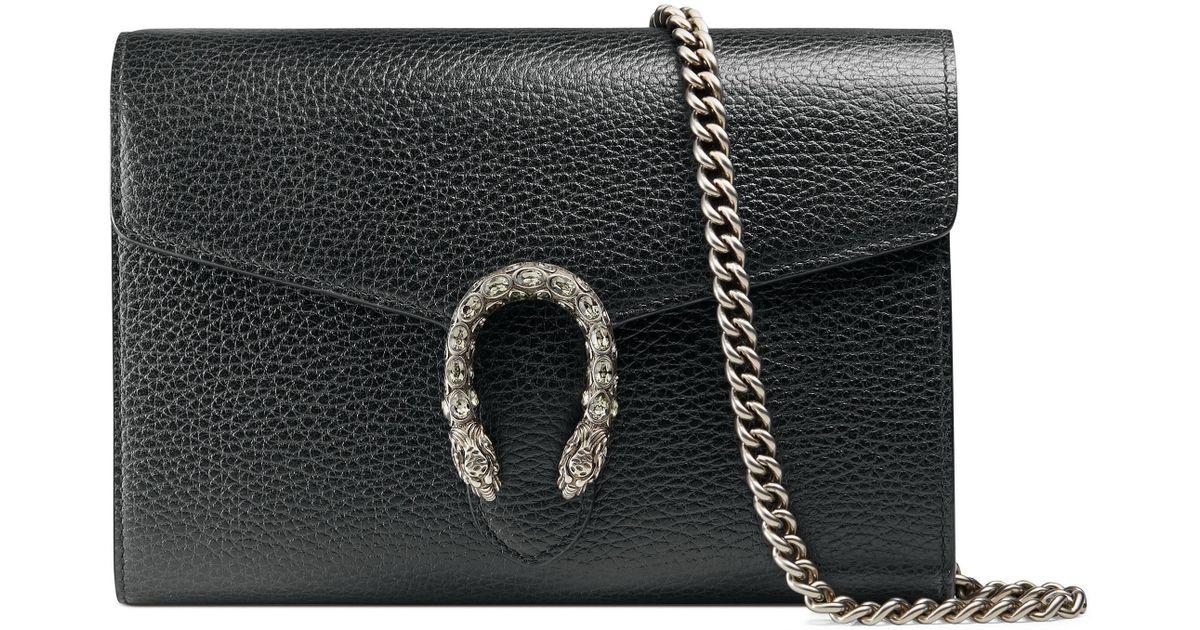 vente chaude en ligne 18b93 56332 Mini sac Dionysus en cuir avec chaîne Gucci en coloris Black