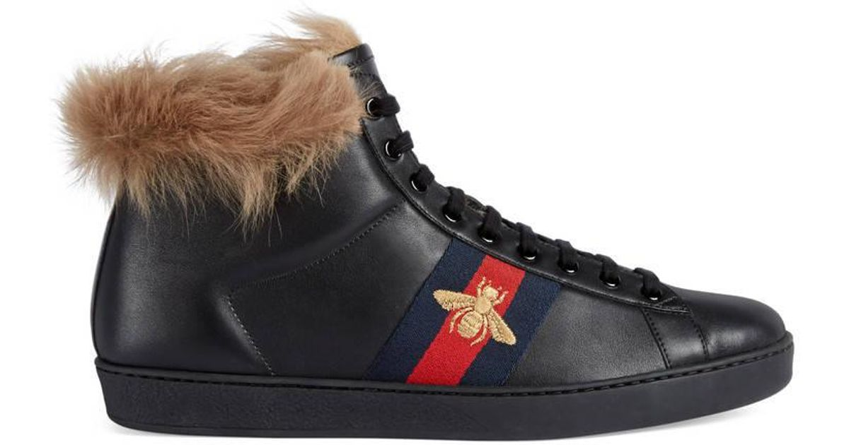 Ace high-top sneaker with fur - Black Gucci iiTQvCLQ
