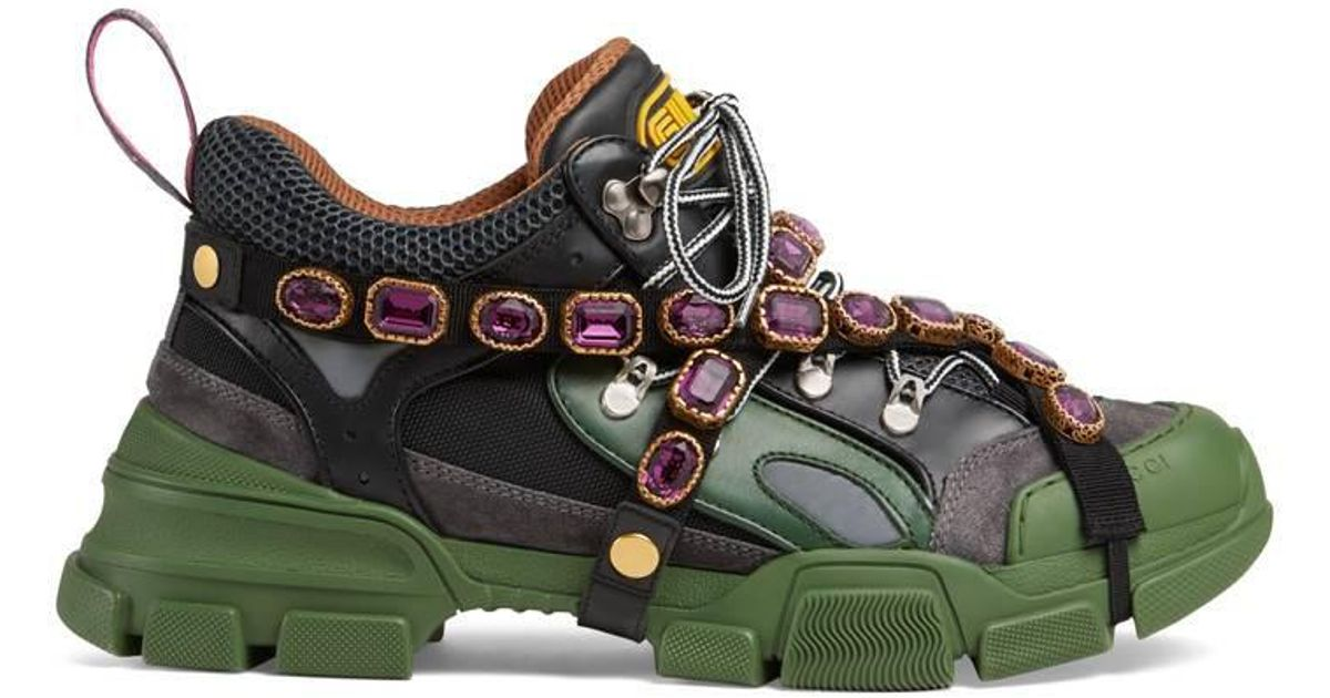 Gucci Green Flashtrek Sneaker With Removable Crystals for men