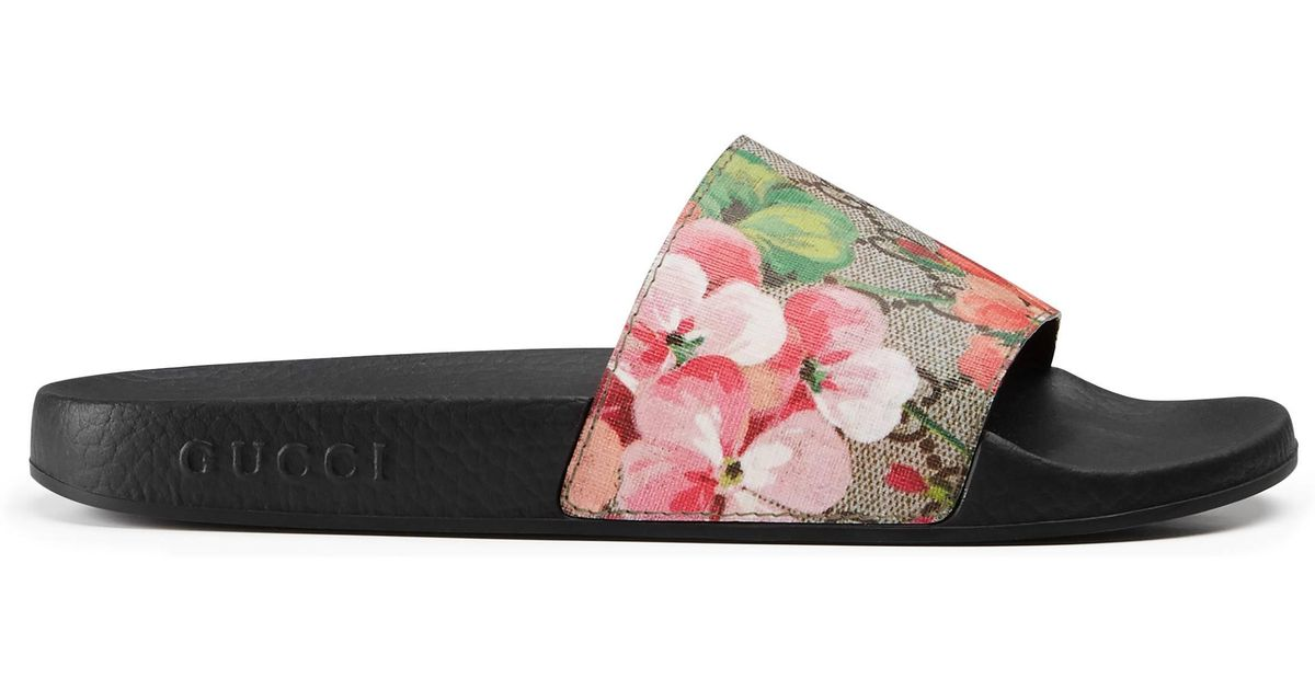 2a21ee6a96b Gucci Blooms Supreme Canvas Slides - Lyst