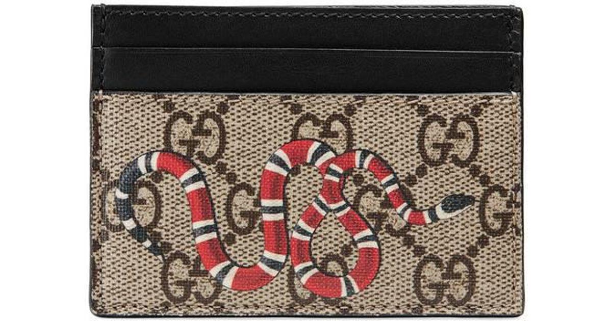 6efa35a83b36 Gucci Snake Print Gg Supreme Card Case in Black for Men - Lyst