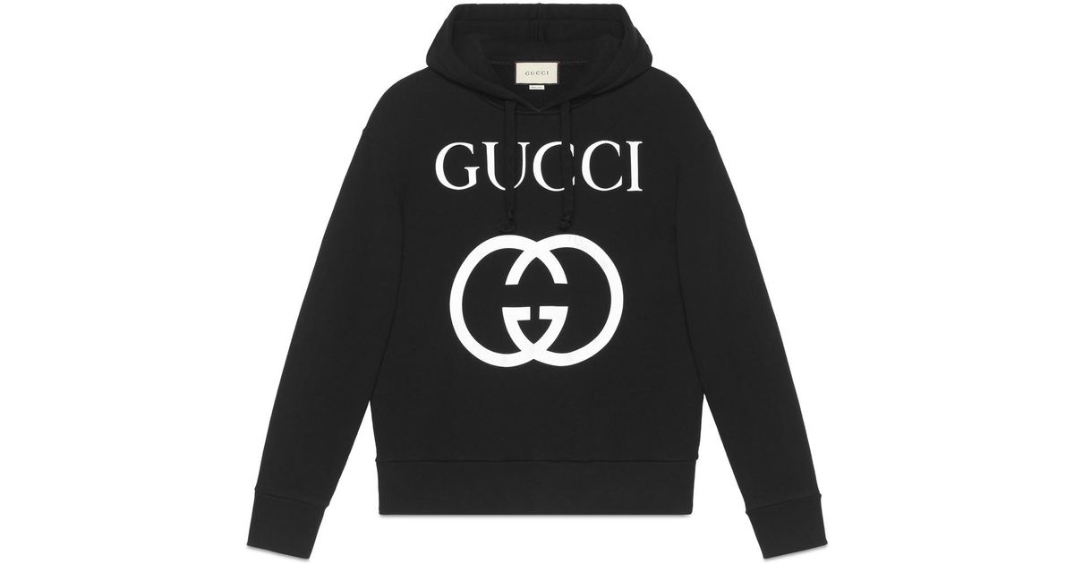 6fcc470b58 Lyst - Gucci Logo-print Loopback Cotton-jersey Hoodie in Black for Men -  Save 29%