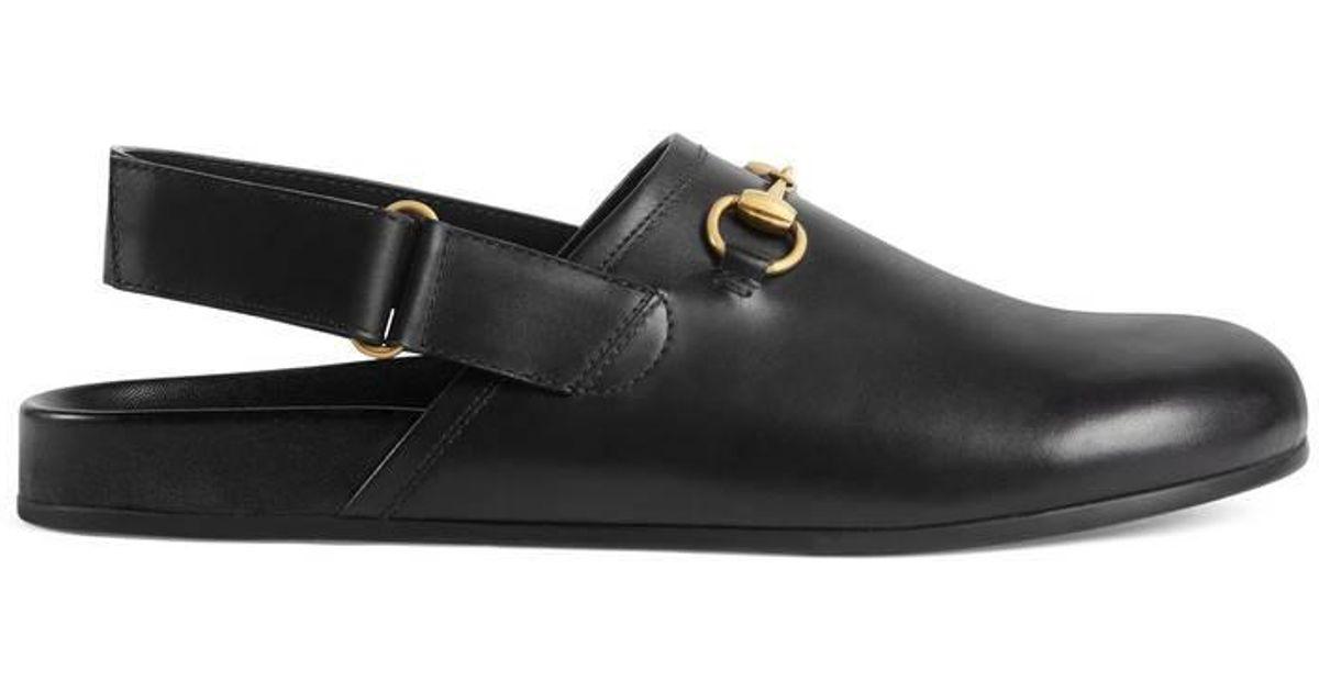 fe624026529 Lyst - Gucci Horsebit Leather Slipper in Black for Men