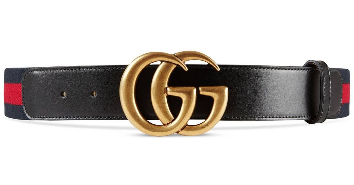 959f3f0936d Lyst - Gucci Nylon Web Belt With Double G Buckle in Black