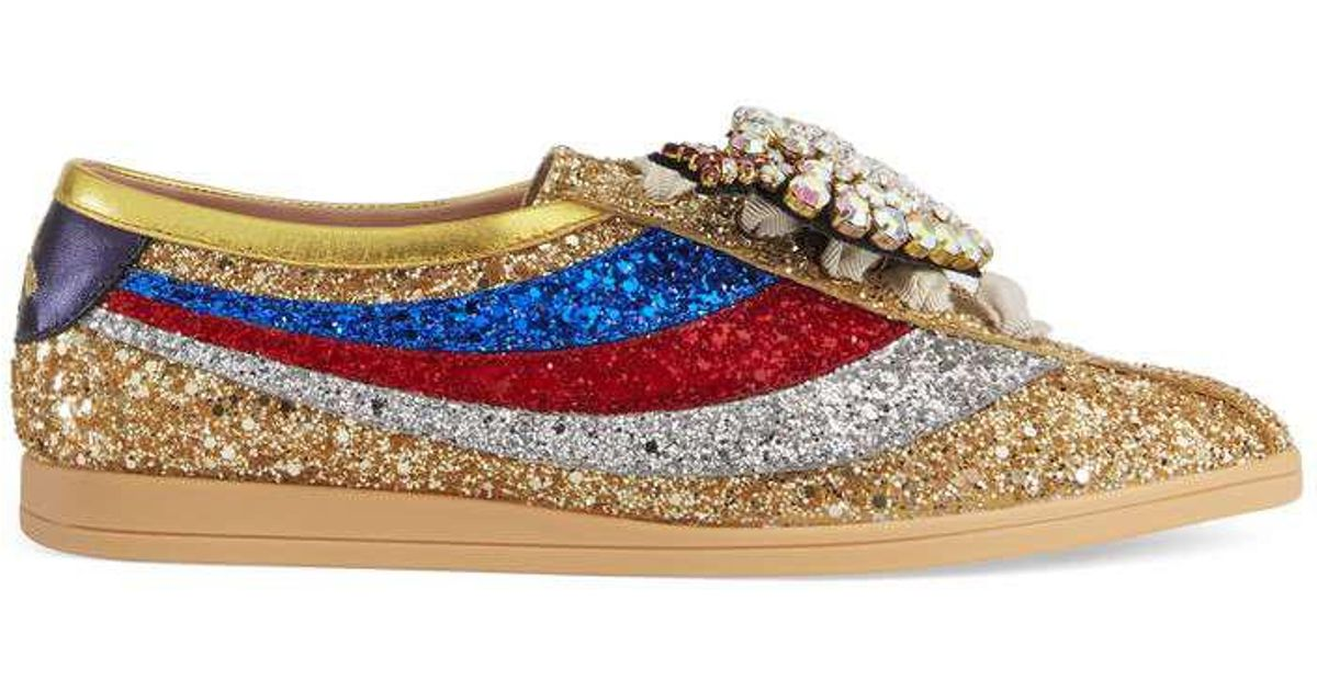 9fc4813865d Lyst - Gucci Falacer Glitter Sneaker With Web in Metallic