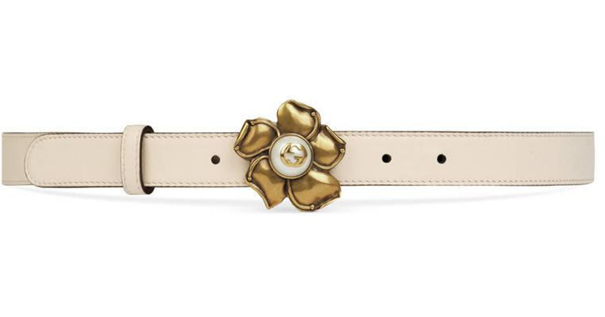 db30197ea10 Lyst - Gucci Leather Belt With Metal Flower in White
