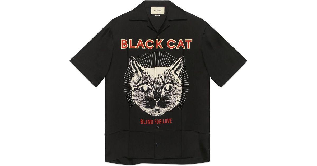 f5f2b6339 Gucci Black Cat Print Silk Bowling Shirt in Black for Men - Lyst