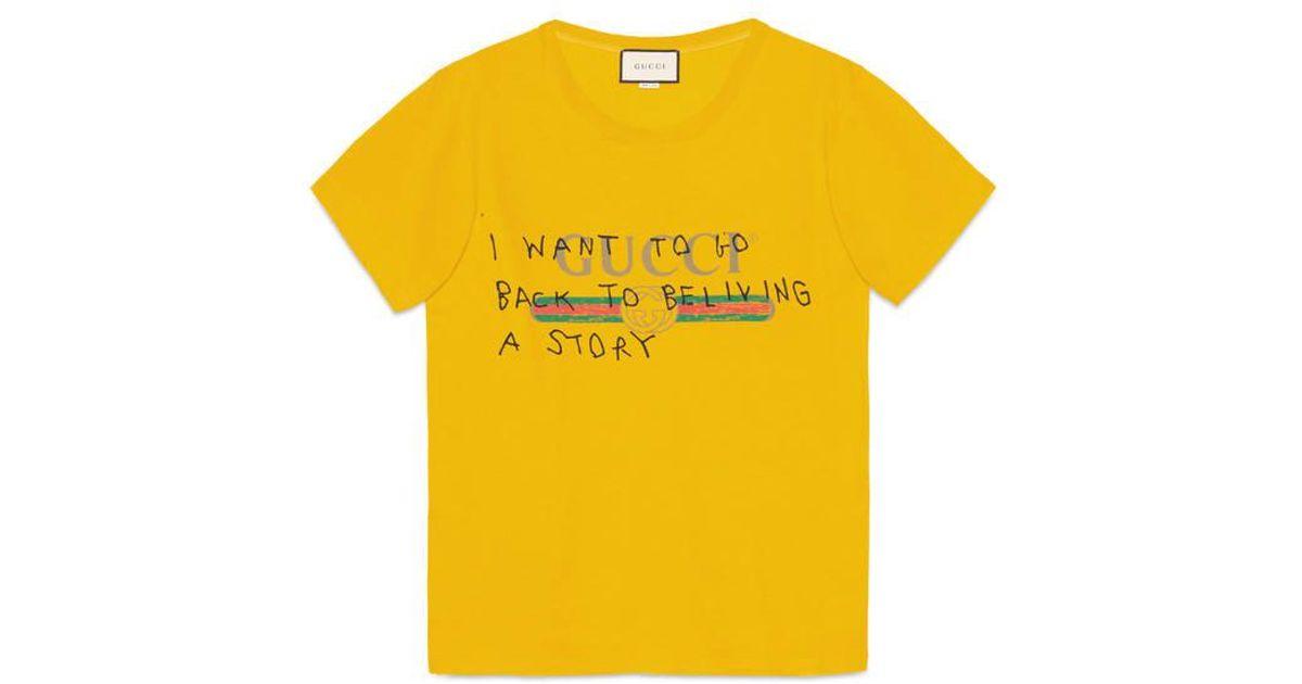 3473bae0 Gucci Yellow Coco Capitán Logo T-shirt for men