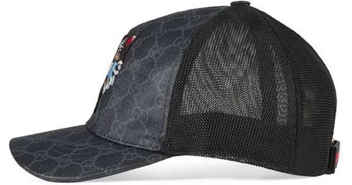 Lyst - Gucci Gg Supreme Baseball Hat With Angry Cat in Black for Men 85fcf3b07b6