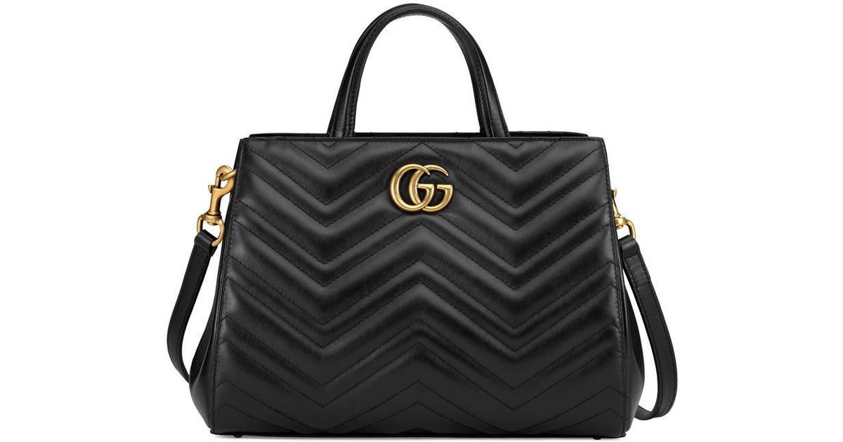 8983aa4237d1 Gucci GG Marmont Matelassé Leather Top Handle Bag in Black - Lyst