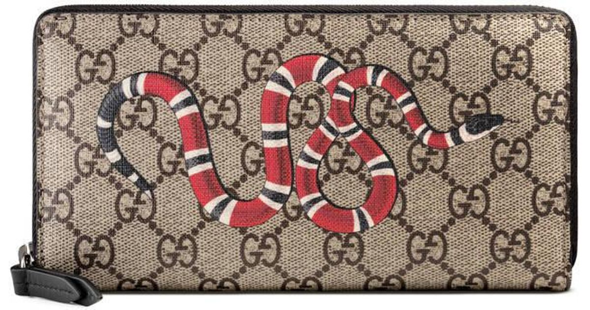 c17c7787638346 Gucci Snake Print Gg Supreme Zip Around Wallet in Pink for Men - Lyst