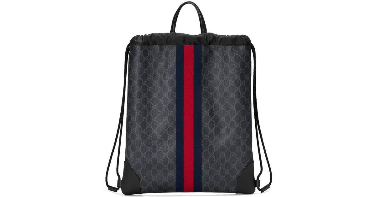 9d825454879d Lyst - Gucci Soft GG Supreme Drawstring Backpack in Black for Men