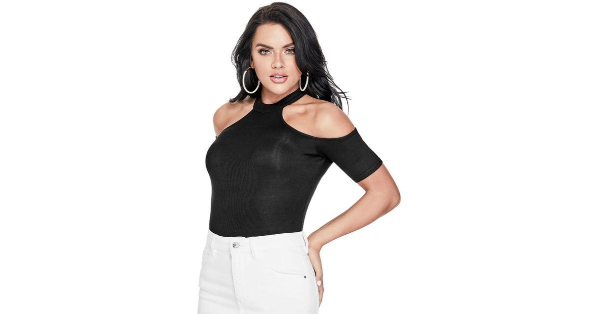 4a08102f729e7 Lyst - Guess Ebony Cold-shoulder Top in Black