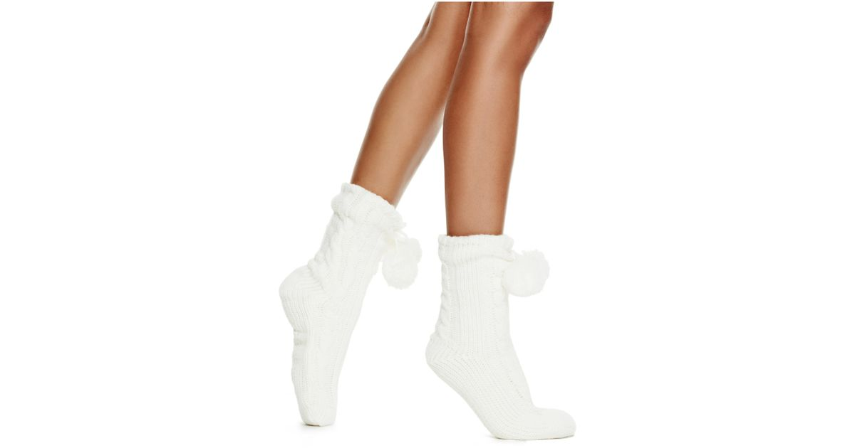 lyst guess slipper socks with poms in white