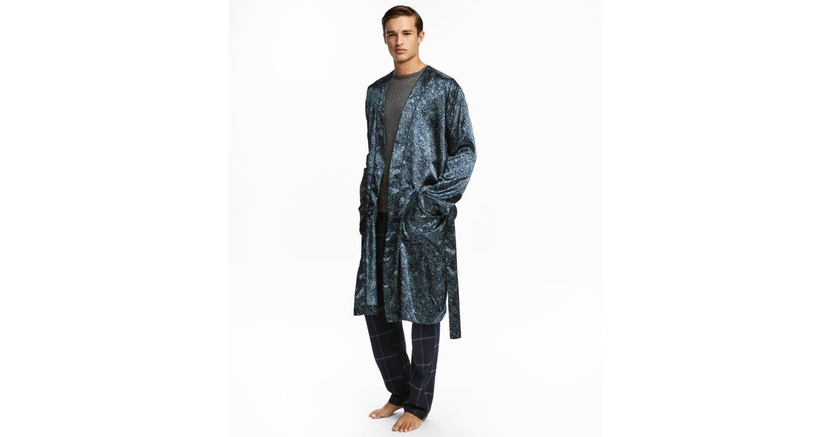 Lyst - H&M Satin Dressing Gown in Blue for Men