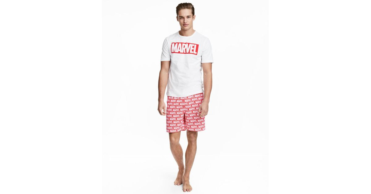 22de170ebac0a H&M Pyjama T-shirt And Shorts in White for Men - Lyst