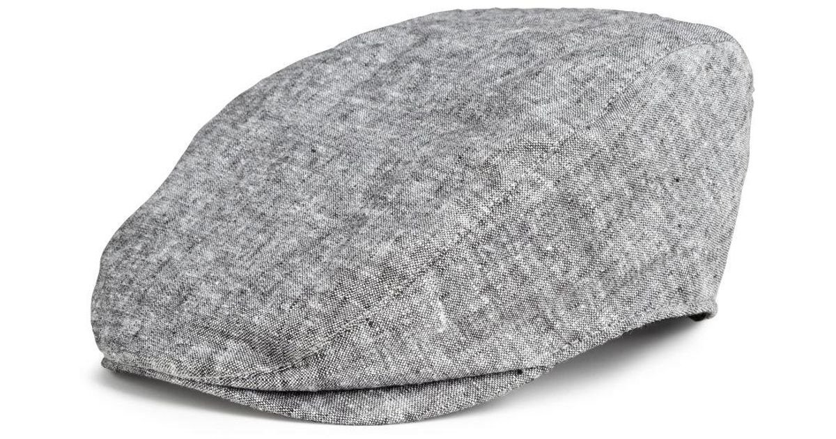 b8e20d889bb Lyst - H M Linen-blend Flat Cap in Gray for Men