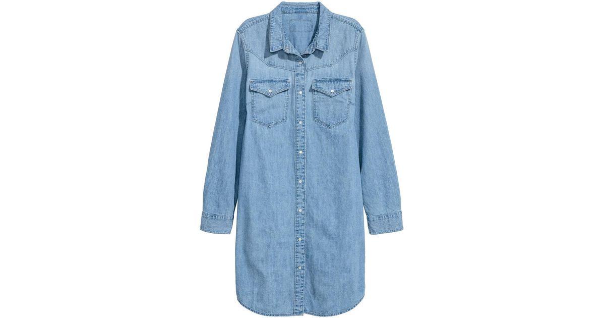 88e1abf35e9b H&M Denim Shirt Dress in Blue - Lyst