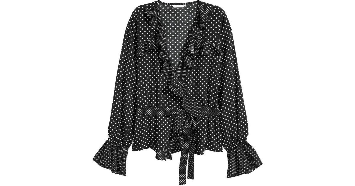 Lyst H M Ruffled Wrapover Blouse
