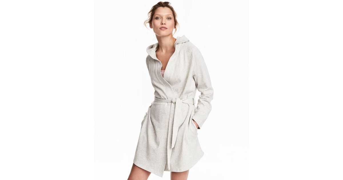 Lyst - H&M Hooded Dressing Gown in Gray