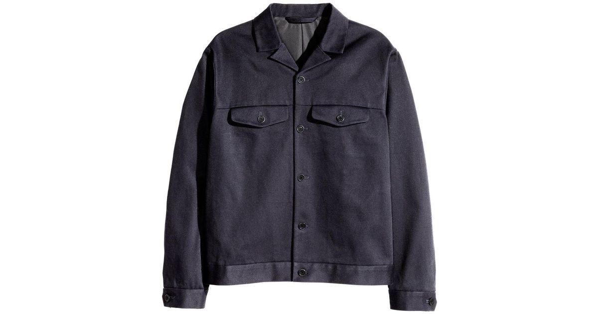 b09ea0d3f H&M Blue Cotton Twill Shirt Jacket for men