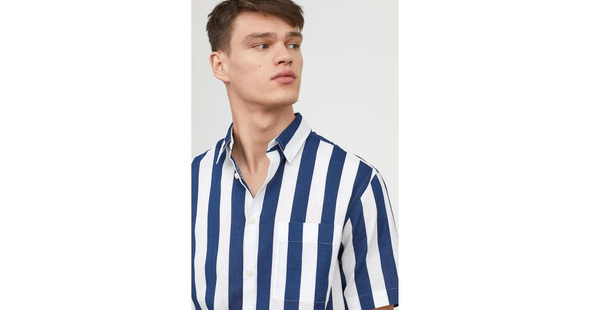 78c11d1387 H M Linen-blend Shirt Regular Fit in Blue for Men - Lyst