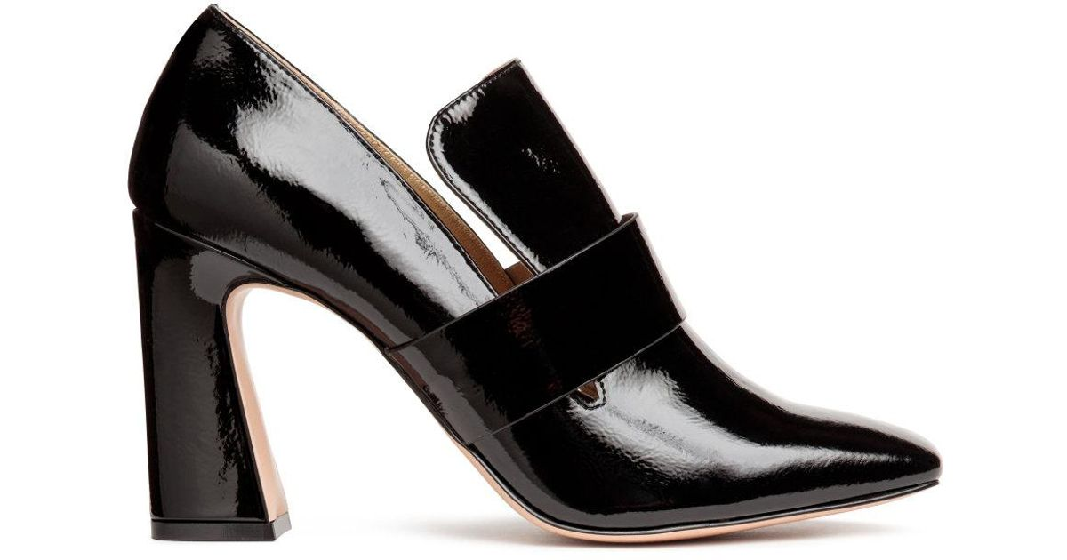 H\u0026M Leather High-heeled Loafers in