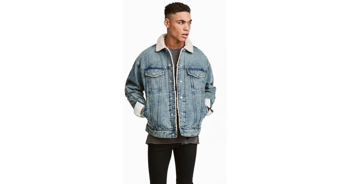 c3018822c H&M Blue Pile-lined Denim Jacket for men