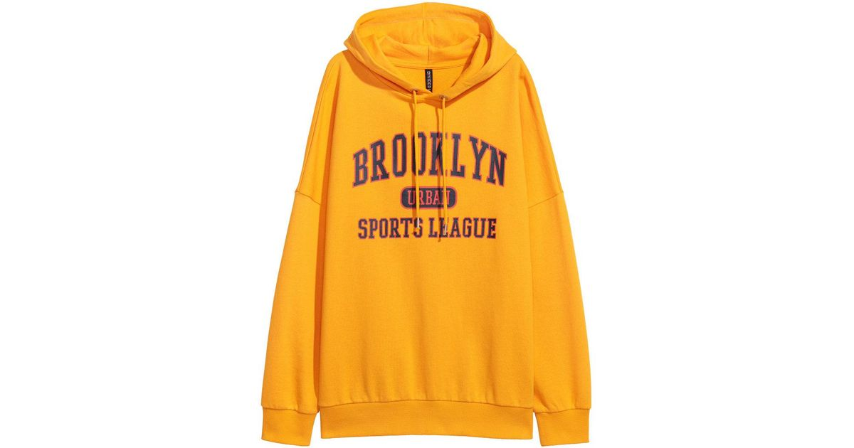 00f8506928a6b H&M Printed Hooded Top in Yellow for Men - Lyst