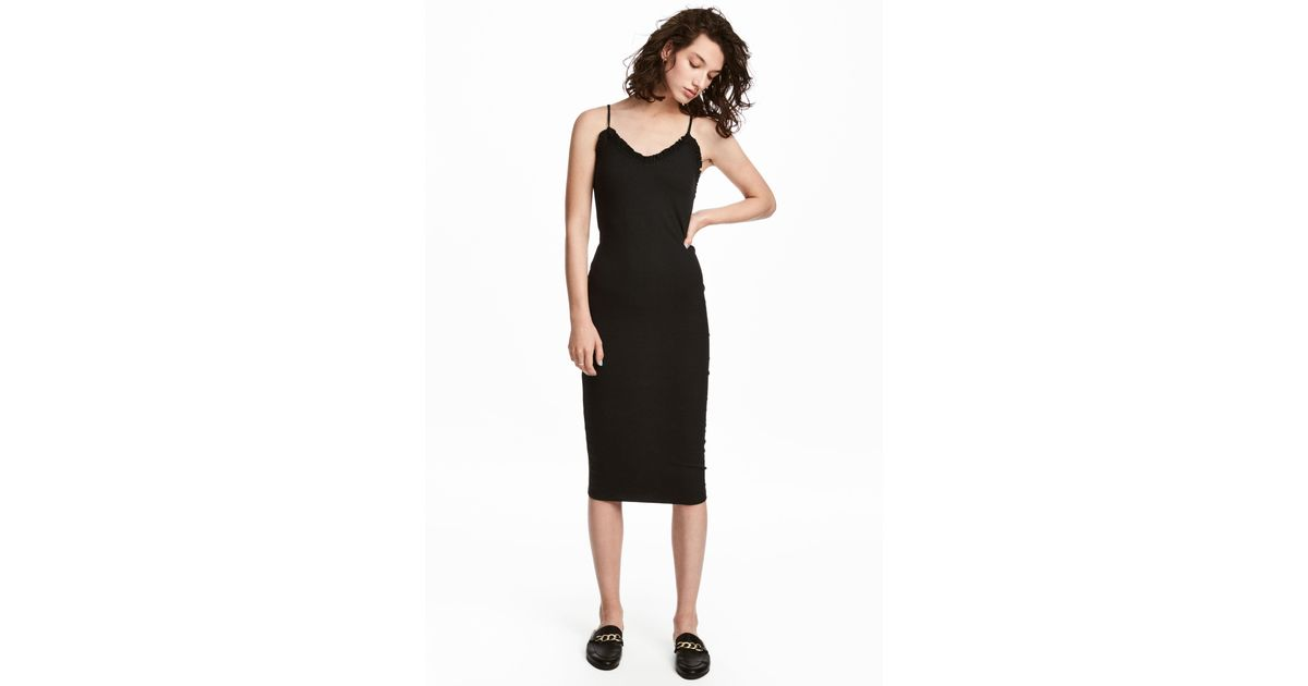 f11f96c2435 H M Ribbed Dress in Black - Lyst
