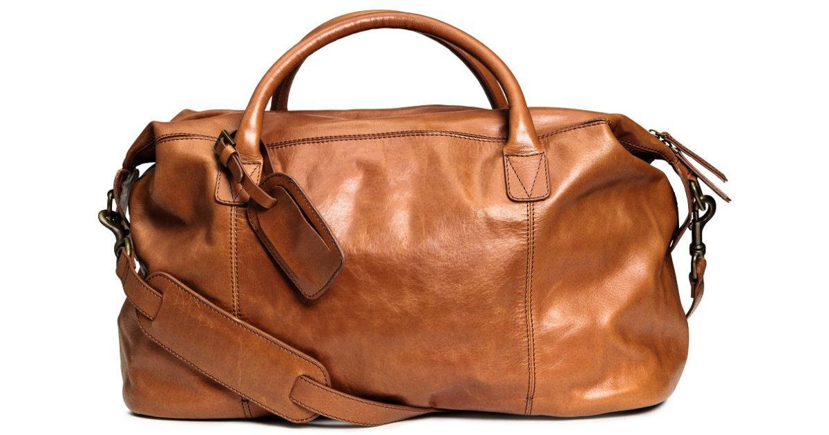 df7f5c84343 H&M Leather Weekend Bag in Brown for Men - Lyst