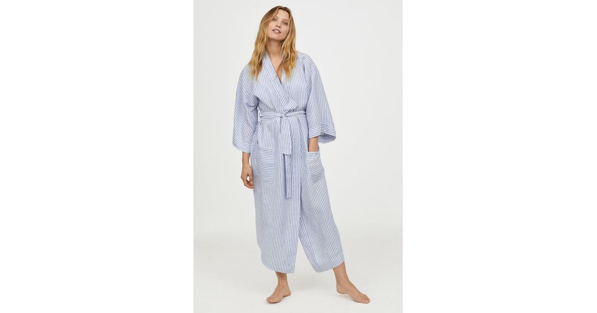 Lyst - H&M Linen Dressing Gown in Blue