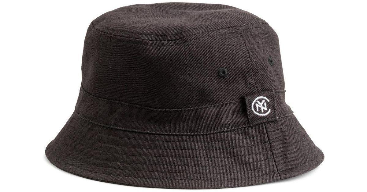 82c57cc35 H&M Black Cotton Twill Fisherman's Hat for men