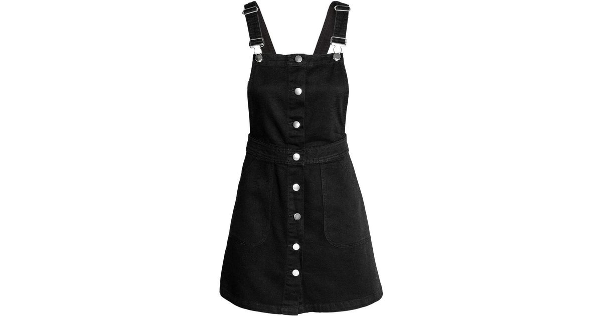 227528fc6dde0 H&M Denim Dungaree Dress in Black - Lyst
